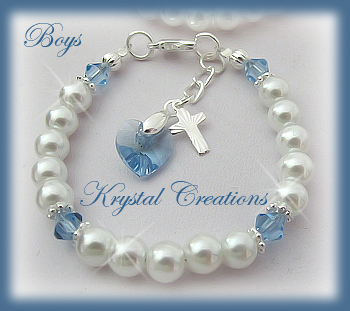 baptism pin personalized baby christening blue gift bracelet boy